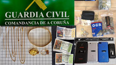 Objetos y material incautados. GUARDIA CIVIL