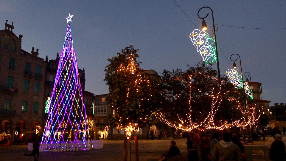 Los árboles que alumbraron la Navidad en Pontevedra