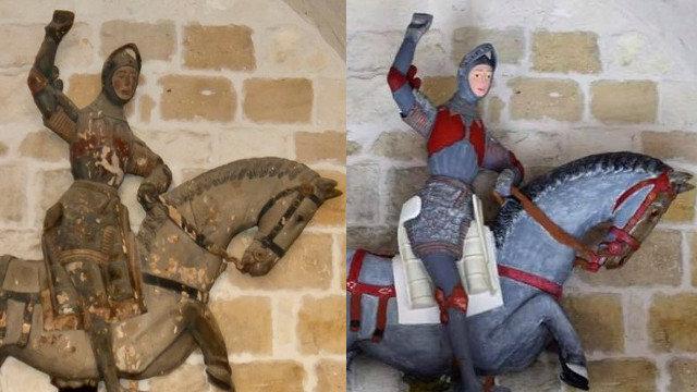 La escultura de San Jorge antes y después de la restauración. ARTUS