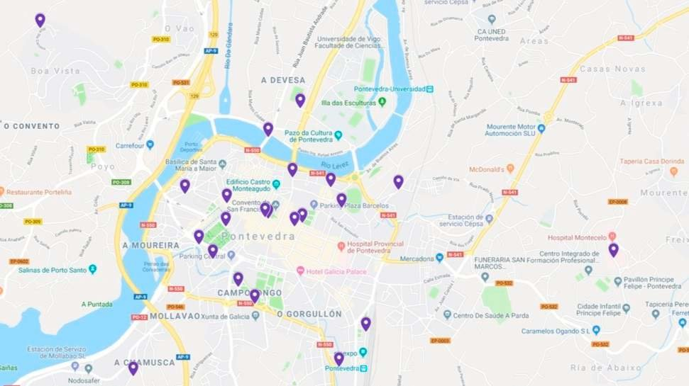 Mapa De Pontevedra Ciudad.El Mapa Del Miedo Suma 276 Relatos De Acosos Y Agresiones Vividas Por Mujeres