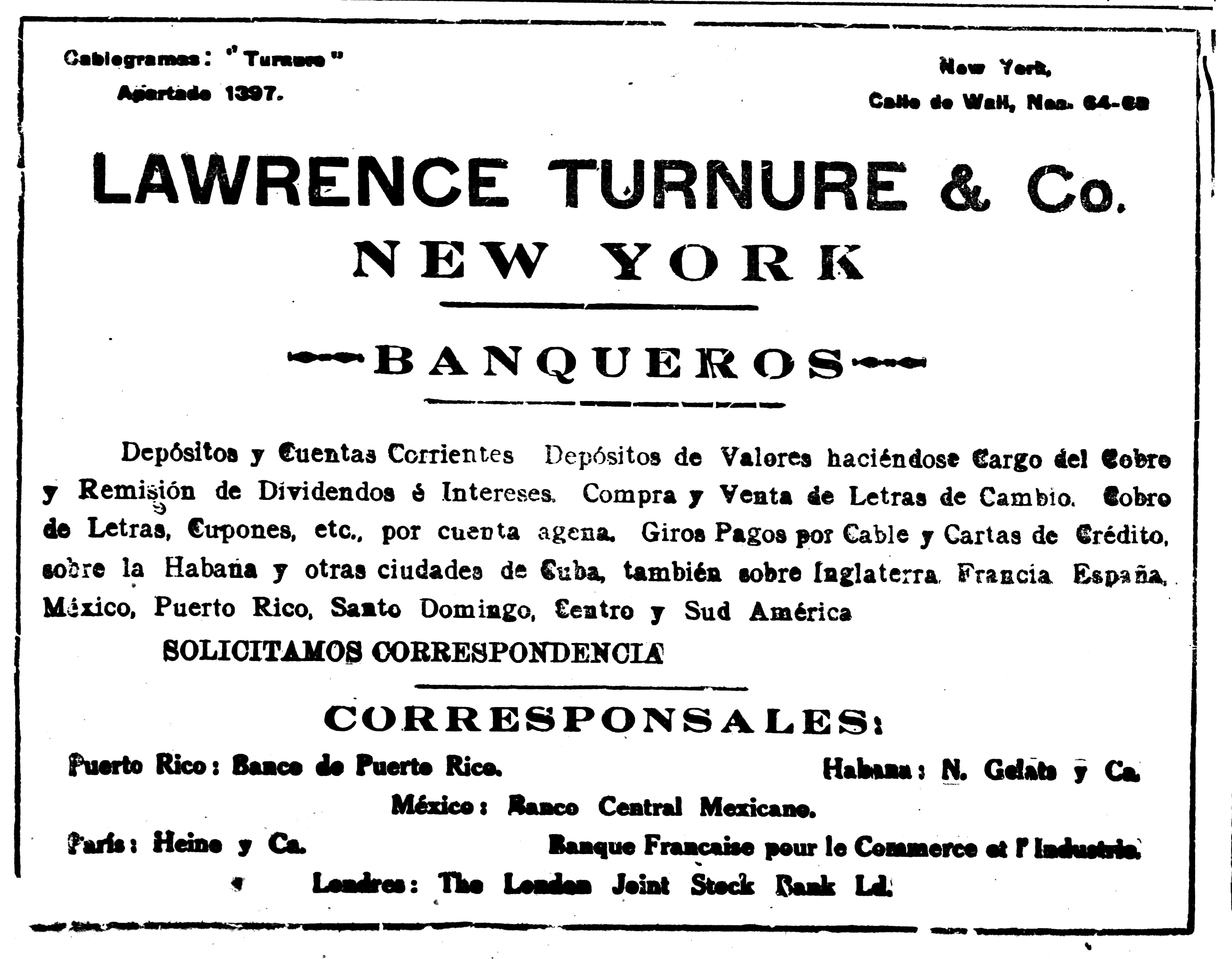 Lawrence Turnure anuncio BO